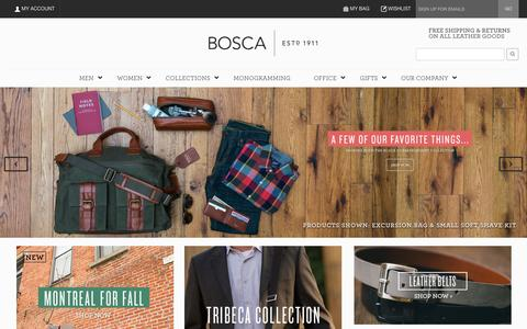 Screenshot of Home Page bosca.com - Bosca   Fine Leather Goods & Accessories - captured Sept. 22, 2014