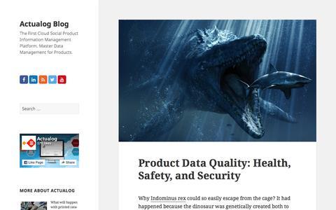 Screenshot of Blog actualog.com - Actualog Blog   The First Cloud Social Product Information Management Platform. Master Data Management  for Products. - captured Sept. 12, 2015