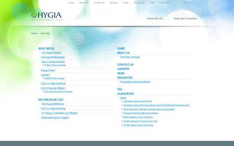 Screenshot of Site Map Page hygia.net - Site Map - Hygia - captured July 18, 2014