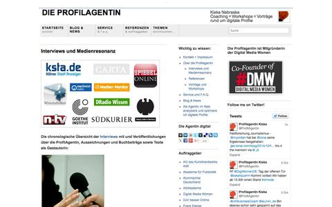 Screenshot of Press Page profilagentin.com - Interviews und Veröffentlichungen | Die ProfilAgentin - captured Oct. 5, 2014