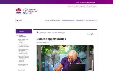 Screenshot of Jobs Page cancerinstitute.org.au - Current opportunities - Cancer Institute NSW - captured July 14, 2017