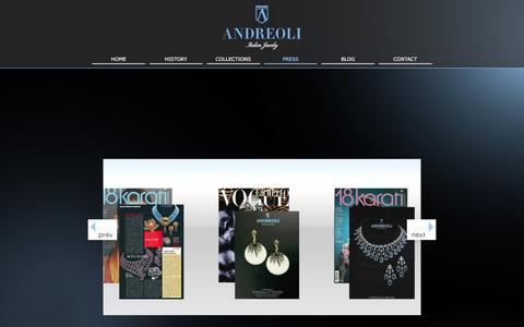 Screenshot of Press Page andreoliusa.com - Andreoli - Press - captured Feb. 6, 2016