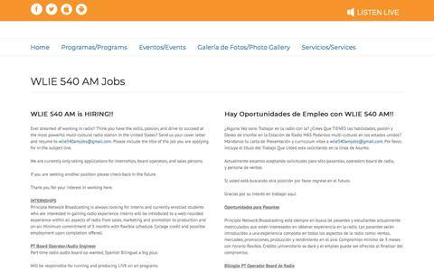 Screenshot of Jobs Page wlie540am.com - Jobs – WLIE - captured July 5, 2018
