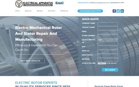 Screenshot of Home Page electricalapparatus.net - AC Rotor Repair, Laser Cut Rotor & Stator Laminations - Electrical Apparatus - captured Nov. 3, 2016