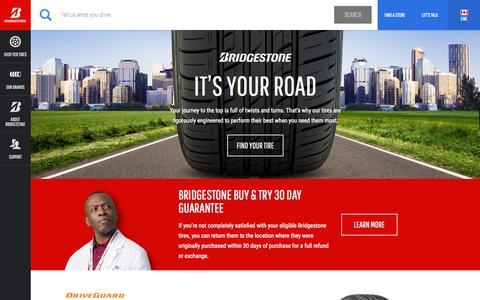 Screenshot of Home Page bridgestonetire.ca - Car Tires and Truck Tires | Bridgestone Tires - captured Oct. 7, 2015