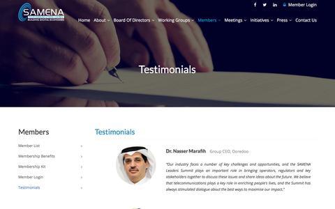 Screenshot of Testimonials Page samenacouncil.org - Testimonials - SAMENA Telecommunications Council - captured July 26, 2018