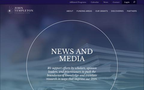Screenshot of Press Page templeton.org - Foundation and grantee news - captured June 21, 2017