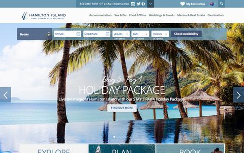 Screenshot of Home Page hamiltonisland.com.au - Hamilton Island Accommodation | Hotels, Deals & Great Barrier Reef Holidays - captured April 26, 2018