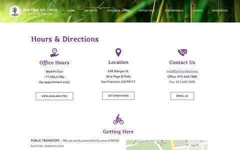 Screenshot of Maps & Directions Page dantianwellness.com - Hours & Directions - Dan Tian Wellness & Natural Medicine - captured Nov. 23, 2016