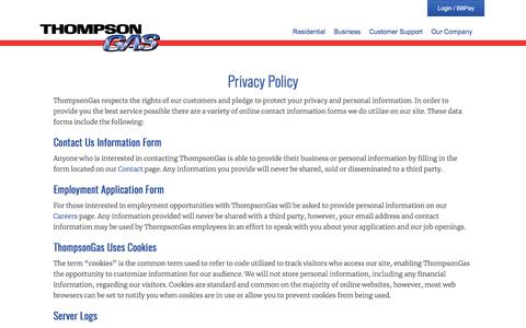 Screenshot of Privacy Page thompsongas.com - Privacy Policy - ThompsonGas - captured Aug. 4, 2018