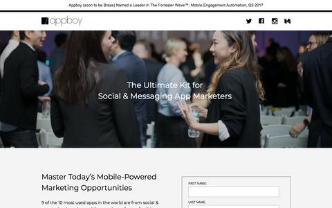 Screenshot of Landing Page appboy.com - Mastering Social & Messaging Marketing | Appboy - captured Nov. 12, 2017