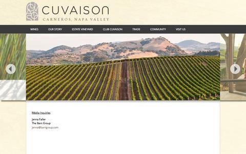 Screenshot of Press Page cuvaison.com - Cuvaison - captured May 21, 2016