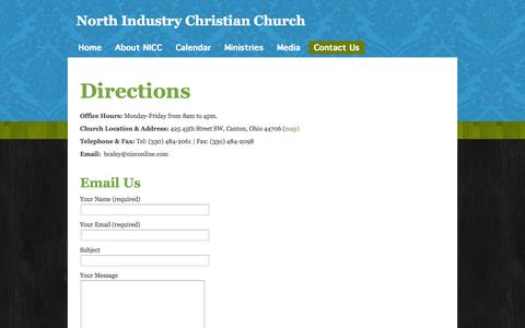 Screenshot of Contact Page nicconline.com - Contact Us «  North Industry Christian Church - captured Oct. 26, 2014