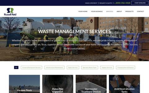 Screenshot of Services Page russellreid.com - Waste Management Services | Russell Reid - captured Dec. 2, 2016