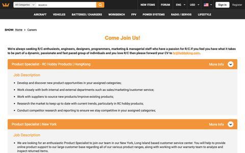 Screenshot of Jobs Page hobbyking.com - Careers - captured Sept. 28, 2018