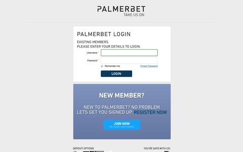 Screenshot of Login Page palmerbet.com - Betting Account Login | Bet Now - captured July 15, 2018