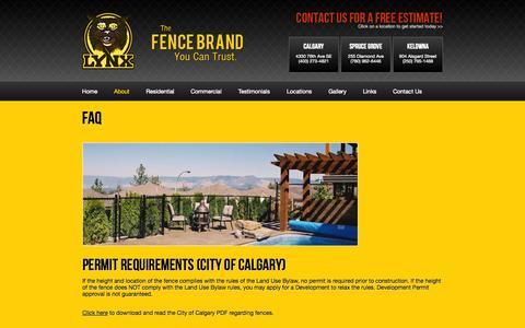 Screenshot of FAQ Page lynxfence.com - FAQ - captured Oct. 3, 2014