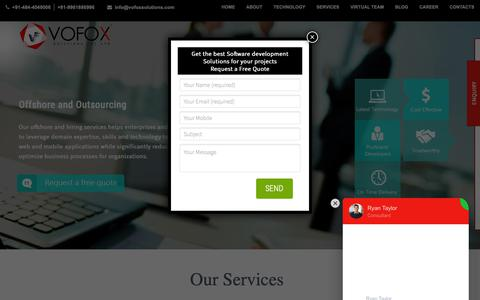 Screenshot of Home Page vofoxsolutions.com - Offshore Software Development Company in India - Vofox Solutions - captured March 10, 2019