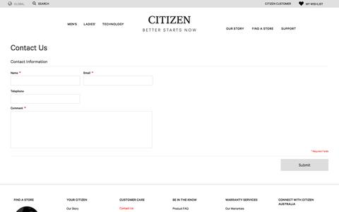 Screenshot of Contact Page citizenwatches.com.au - Contact Us | Citizen Watches Australia - captured Sept. 24, 2018