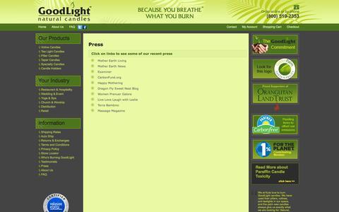 Screenshot of Press Page naturalcandles.com - GoodLight Natural Candles | Press Information - captured Oct. 3, 2014