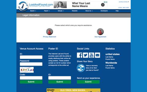Screenshot of Terms Page lostandfound.com - LostAndFound.com: The Internet Lost And Found - captured June 25, 2017