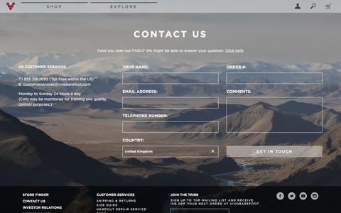 Screenshot of Contact Page vivobarefoot.com - Contact Us | Customer Service | VIVOBAREFOOT - captured Nov. 30, 2016