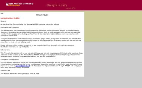 Screenshot of Privacy Page sjaacsa.org - African American Community Service Agency:  About - captured Oct. 4, 2014