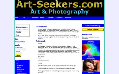 Screenshot of Testimonials Page art-seekers.com - Testimonials. - captured Feb. 6, 2016