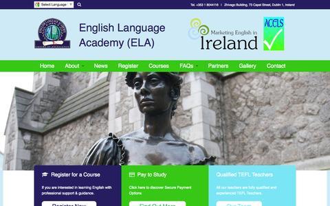 Screenshot of Home Page elaireland.com - Home - captured June 18, 2015