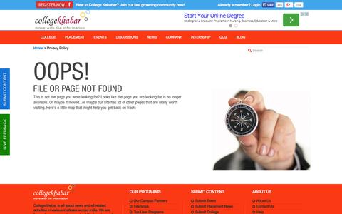 Screenshot of Privacy Page collegekhabar.com - College Khabar - Engineering Placement News, Student College Reviews, Company Reviews, College Events,Placement Papers, Student Interviews - captured Sept. 19, 2014
