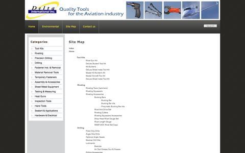 Screenshot of Site Map Page deltaintl.com - Delta International - captured Feb. 9, 2016