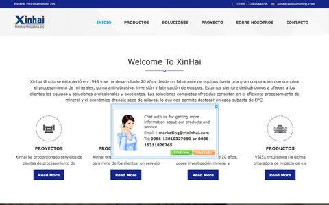 Screenshot of Home Page Menu Page grupotrirumo.com - Xinhai Mineral Procesamiento EPC,Servicio Completo,Soluciones Minerales - captured July 25, 2018