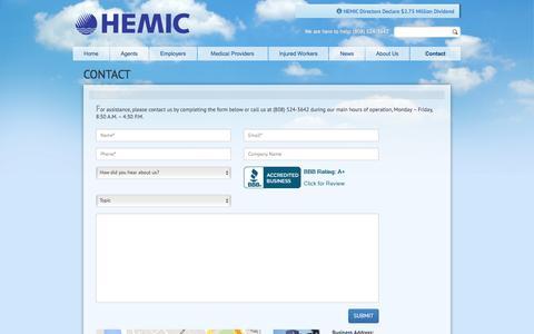 Screenshot of Contact Page hemic.com - HEMIC | Contact Us - captured Dec. 5, 2015