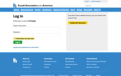 Screenshot of Login Page suzukiassociation.org - Log In | Suzuki Association of the Americas - captured Sept. 24, 2014