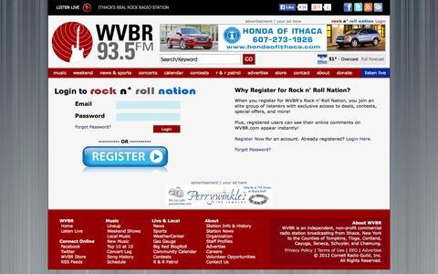 Screenshot of Login Page wvbr.com - Login to Rock n' Roll Nation | WVBR 93.5 FM - Ithaca's Real Rock Radio Station - captured Oct. 9, 2014