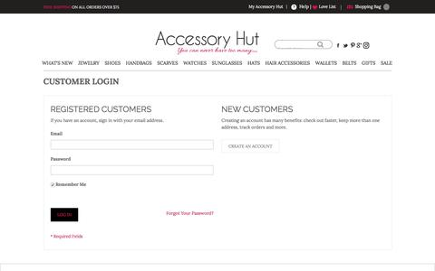 Screenshot of Login Page accessoryhut.com - Customer Login - captured May 29, 2017