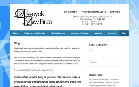 Screenshot of Blog downyok.com - Blog - Downyok Law Firm - Employment, Criminal and Family Law - captured Oct. 5, 2014