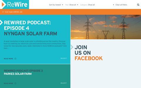 Screenshot of Blog arena.gov.au - Blog > ReWire - Australian Renewable Energy Agency - captured June 27, 2017