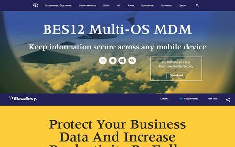 Screenshot of blackberry.com - BES12 Multi-OS MDM - United States - captured May 11, 2016