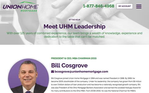 Screenshot of Team Page unionhomemortgage.com - Our Leadership | Union Home Mortgage - captured Feb. 9, 2020