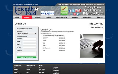 Screenshot of Contact Page friendlyfordny.com - Ford Dealership | Poughkeepsie - captured Oct. 6, 2014