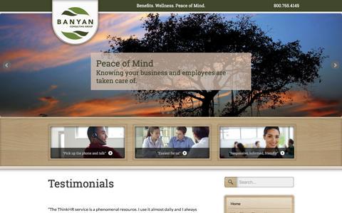 Screenshot of Testimonials Page banyaninc.com - Client Testimonials   Banyan Consulting Group, Inc. - captured Feb. 7, 2016