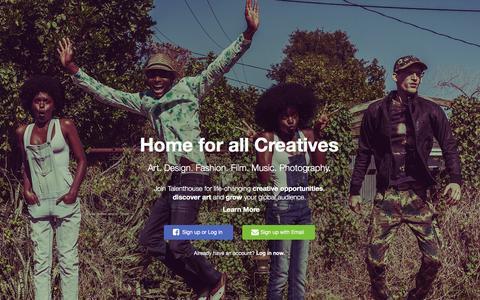 Screenshot of Home Page talenthouse.com - Talenthouse - captured Jan. 1, 2016
