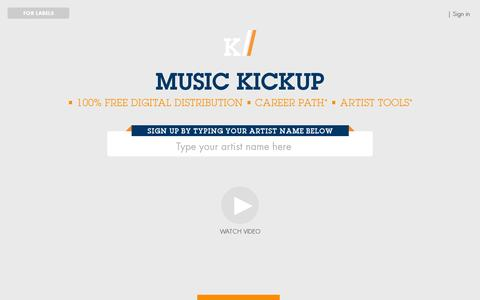 Screenshot of Home Page musickickup.com - Music Kickup - captured July 12, 2014