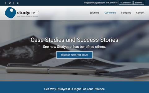 Screenshot of Case Studies Page corestudycast.com - Medical Imaging Case Studies | Cloud PACS | Studycast - captured Nov. 11, 2016