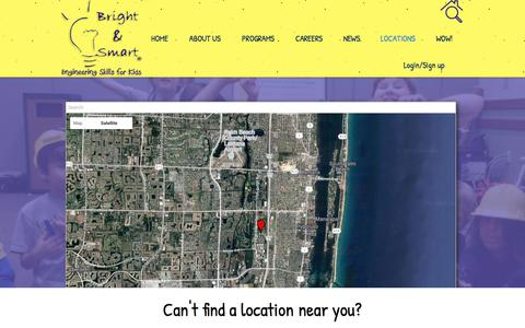Screenshot of Locations Page brightandsmart.com - Bright & Smart | Engineering Skills for Kids |  | Locations - captured Oct. 11, 2017