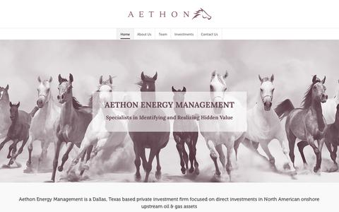 Screenshot of Home Page aethonenergy.com - Aethon Energy – North American Oil & Gas Investment Firm - captured July 24, 2016