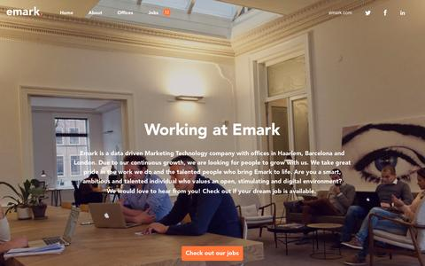 Screenshot of Home Page Jobs Page working-at-emark.com - Working At Emark - captured Feb. 23, 2016