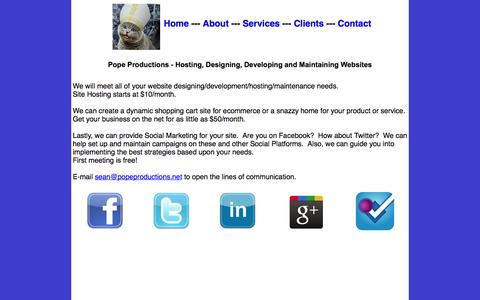 Screenshot of Services Page popeproductions.net - Pope Productions - Host, Design, Develop and Maintain       Websites - Services - captured Sept. 30, 2014