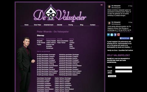 Screenshot of Site Map Page devalsspeler.nl - Peter Woerde | De Valsspeler - verrassend entertainment - captured Sept. 30, 2014